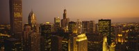 """Skyscrapers in Chicago at dusk, Illinois by Panoramic Images - 36"""" x 12"""""""