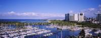 "Ala Wai, Honolulu, Hawaii with Boats by Panoramic Images - 36"" x 12"""