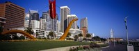 """Low angle view of a sculpture in front of buildings, San Francisco, California, USA by Panoramic Images - 36"""" x 12"""""""