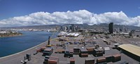 """Cargo containers at a harbor, Honolulu, Oahu, Hawaii, USA 2007 by Panoramic Images, 2007 - 36"""" x 16"""""""