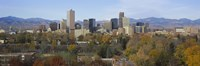 """Skyscrapers in a city with mountains in the background, Denver, Colorado by Panoramic Images - 36"""" x 12"""", FulcrumGallery.com brand"""