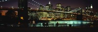 "Suspension bridge lit up at dusk, Brooklyn Bridge, East River, Manhattan, New York City, New York State, USA by Panoramic Images - 36"" x 12"""