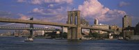 "Boat in a river, Brooklyn Bridge, East River, New York City, New York State, USA by Panoramic Images - 36"" x 12"""