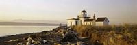 Lighthouse on the beach, West Point Lighthouse, Seattle, King County, Washington State, USA Fine Art Print