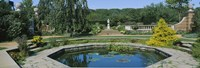 """Garden pond, English Walled Garden, Chicago Botanic Garden, Glencoe, Cook County Forest Preserves, Cook County, Illinois, USA by Panoramic Images - 36"""" x 12"""""""