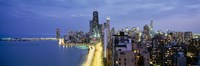 "Skyscrapers lit up at the waterfront, Lake Shore Drive, Chicago, Cook County, Illinois, USA by Panoramic Images - 36"" x 12"", FulcrumGallery.com brand"