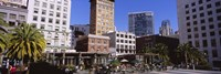 """Low angle view of buildings at a town square, Union Square, San Francisco, California, USA by Panoramic Images - 36"""" x 12"""""""