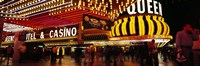 """Casino lit up at night, Four Queens, Fremont Street, Las Vegas, Clark County, Nevada, USA by Panoramic Images - 36"""" x 12"""""""