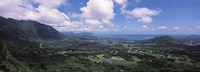 """High angle view of a landscape, Kaneohe, Oahu, Hawaii by Panoramic Images - 36"""" x 12"""""""