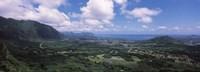 High angle view of a landscape, Kaneohe, Oahu, Hawaii Fine Art Print