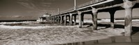 """Manhattan Beach Pier in Black and White, Los Angeles County by Panoramic Images - 36"""" x 12"""", FulcrumGallery.com brand"""