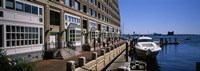 """Boats at a harbor, Rowe's Wharf, Boston Harbor, Boston, Suffolk County, Massachusetts, USA by Panoramic Images - 36"""" x 12"""""""