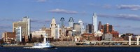 """Buildings at the waterfront, Delaware River, Philadelphia, Pennsylvania by Panoramic Images - 36"""" x 12"""""""