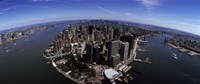 """Aerial view of Manhattan and rivers, New York City, New York State, USA by Panoramic Images - 36"""" x 12"""""""