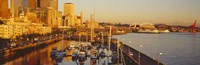 """Buildings at the waterfront, Elliott Bay, Bell Harbor Marina, Seattle, King County, Washington State, USA by Panoramic Images - 36"""" x 12"""""""