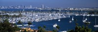 """Aerial view of boats moored at a harbor, San Diego, California, USA by Panoramic Images - 36"""" x 12"""", FulcrumGallery.com brand"""