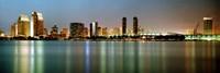 "City skyline at night, San Diego, California, USA by Panoramic Images - 36"" x 12"""