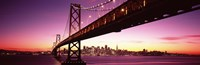 Bay Bridge and city skyline at night, San Francisco, California, USA Fine Art Print