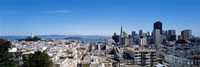 """High angle view of a city, Coit Tower, Telegraph Hill, Bay Bridge, San Francisco, California, USA by Panoramic Images - 36"""" x 12"""""""