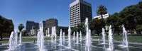 """Plaza De Cesar Chavez with Water Fountains, San Jose, California by Panoramic Images - 36"""" x 12"""""""
