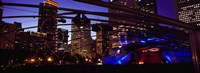 """Buildings lit up at night, Millennium Park, Chicago, Cook County, Illinois, USA by Panoramic Images - 36"""" x 12"""""""