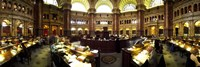 """Interiors of the main reading room of a library, Library Of Congress, Washington DC, USA by Panoramic Images - 36"""" x 12"""""""