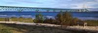 "Suspension bridge across a strait, Mackinac Bridge, Mackinaw City, Michigan, USA by Panoramic Images - 36"" x 12"""