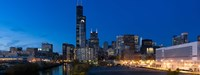 """Buildings in a city lit up at dusk, Chicago, Illinois, USA by Panoramic Images - 36"""" x 12"""""""