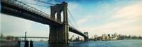 "Bridge across a river, Brooklyn Bridge, East River, Brooklyn, New York City, New York State by Panoramic Images - 36"" x 12"""