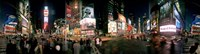 """360 degree view of buildings lit up at night, Times Square, Manhattan, New York City, New York State, USA by Panoramic Images - 36"""" x 12"""""""