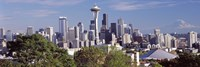 """City viewed from Queen Anne Hill, Space Needle, Seattle, King County, Washington State, USA 2010 by Panoramic Images, 2010 - 36"""" x 12"""""""