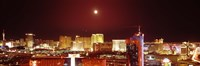 """Moon Over Las Vegas at Night by Panoramic Images - 36"""" x 12"""""""