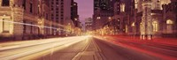 """Michigan Avenue at Dusk, Chicago, Illinois by Panoramic Images - 36"""" x 12"""", FulcrumGallery.com brand"""