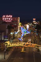 """Neon casino signs lit up at dusk, El Cortez, Fremont Street, The Strip, Las Vegas, Nevada, USA by Panoramic Images - 12"""" x 36"""""""