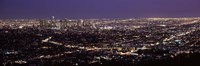 "Night View of Los Angeles, California with Purple Sky by Panoramic Images - 36"" x 12"""