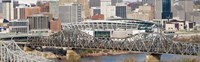 Bridge across a river, Paul Brown Stadium, Cincinnati, Hamilton County, Ohio, USA Fine Art Print