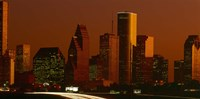 Skyscrapers in a city at sunset, Houston, Texas, USA Fine Art Print