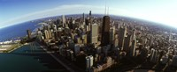 """Aerial view of Chicago and lake, Cook County, Illinois, USA 2010 by Panoramic Images, 2010 - 36"""" x 12"""""""