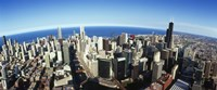 """Aerial view of Chicago with the lake in the background, Cook County, Illinois, USA 2010 by Panoramic Images, 2010 - 36"""" x 12"""""""