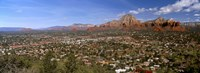 """City with rock formations in the background, Cathedral Rocks, Sedona, Coconino County, Arizona, USA by Panoramic Images - 36"""" x 12"""""""