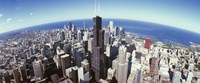 "Aerial View of the Sears Tower with Lake Michigan in the Background, Chicago, Illinois, USA by Panoramic Images - 36"" x 12"""