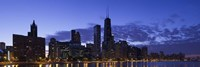 """Lit Up Skyline on the Lake Michigan Waterfront, Chicago by Panoramic Images - 36"""" x 12"""", FulcrumGallery.com brand"""
