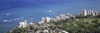 Aerial view of a city at waterfront, Honolulu, Oahu, Honolulu County, Hawaii, USA 2010 Fine Art Print