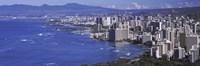 High angle view of a city at waterfront, Honolulu, Oahu, Honolulu County, Hawaii Fine Art Print
