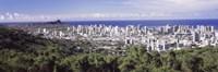 View of Honolulu with the ocean in the background, Oahu, Honolulu County, Hawaii, USA 2010 Fine Art Print