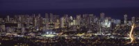 High angle view of a city lit up at night, Honolulu, Oahu, Honolulu County, Hawaii Fine Art Print
