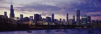 Lake Michigan Waterfront with Purple Night Sky, Chicago, Illinois, USA by Panoramic Images - various sizes