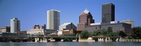"""Buildings at the waterfront, Genesee River, Rochester, Monroe County, New York State by Panoramic Images - 36"""" x 12"""" - $34.99"""