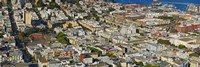 """Aerial view of buildings in a city, Columbus Avenue and Fisherman's Wharf, San Francisco, California, USA by Panoramic Images - 36"""" x 12"""", FulcrumGallery.com brand"""