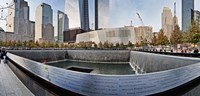 """911 Memorial along side the South Tower Footprint Memorial, New York City, New York State, USA 2011 by Panoramic Images, 2011 - 36"""" x 12"""""""